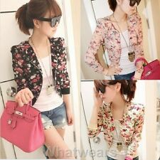Sweet Womens Floral Print Short Chiffon Coat Jacket 3Colors F4148 GBW