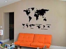 Map Of The World And Continents Wall Art Sticker Vinyl Mural WA514