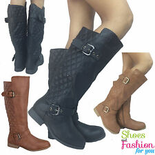 Women's Riding Boots Knee High Fashion Shoes Faux Leather Black Tan Size 5- 10