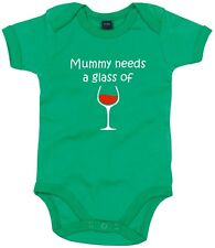 NEW KIDS BABY GROW CHILDRENS MUMMY NEEDS A GLASS OF WINE DRINK FUNNY VEST ONESIE