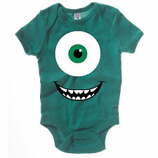 NEW KIDS BABY GROW CHILDRENS MIKE WAZOWSKI MONSTERS INC VEST NOVELTY CUTE ONESIE