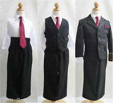Toddler teen black boy formal suit with red tie ring bearer bridal recital party