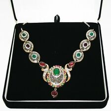 Very Elegant Rough Cut Emerald & Ruby Necklace DR2A3