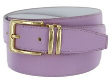 Womens Leather Fashion Belt, Lavender with Gold Plated Buckle