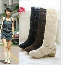 Women Summer Lady Knitting Knitted Flat Knee High Casual Sandals Boots Shoes