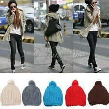 Women Lady Soft Knit Wool Warm Ball Winter Hat Beanie Pom Cap Multi Color HOT!!