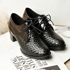 Women ladies kitten heel Oxford shoes lace up patent leather court wear AFL4
