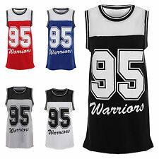 Womens Ladies Print 95 Warrior Sleeveless Mesh Insert Vest Top Tshirt Size 8-14