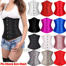 Black White Steel Busk Boned Lace Up Corset Waist Trainer Bustier Top Plus S-6XL