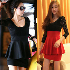 Korean Fashion Womens Sexy Lace Long Sleeve Splicing Short Mini Work Party Dress
