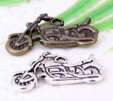 Wholesale16/38Pcs Bronze、Silver Plated(Lead-Free)Motorcycle Charms 25x14mm