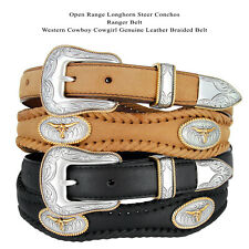 Golden Steer Longhorn Concho Genuine Western Leather Belt, Black Brown