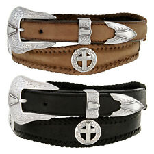 Mens Western Silver Concho Star Badge Genuine Leather Cowboy Belt Black Brown