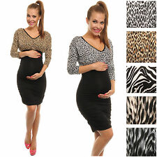Happy Mama Pregnancy Maternity Women's Animal Print Stretch Ruched Dress 041