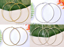 GOLD & SILVER Plated Beading Hoop Earrings 35MM 40MM 50MM 60MM 70MM 80MM 90MM
