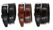 Mens Italian Leather Dress Casual Alligator Calfskin Designer Golf Belt, 1-1/8""