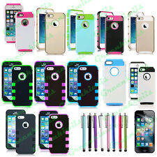 IPHONE 5 5S SE COLORFUL HEAVY DUTY CASE HYBRID RUGGED COVER WITH FILM + STYLUS
