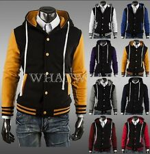 Unisex Classic Mens Hooded Varsity Baseball Jacket 8 Color Slim Fit GBW