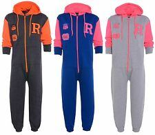 NEW Kids Onesie All in One Hooded Girls BASEBALL  Jumpsuit Playsuit Age 7-13