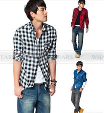 Men's Casual Long Sleeve Shirt Slim Fit Plaid Shirt Tops 5 Colors A1843 LJN