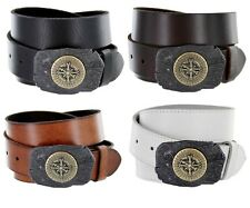 Sailor Compass Buckle Mens Jean One Piece Cowhide Leather Belt, Made in Italy