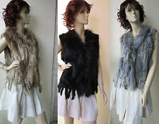 Free shipping/real rabbite fur with raccoon fur vest/waistcoat /Size;L-XL