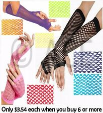Ladies Fishnet Gloves Long Fingerless Neon Party Dance 70s 80s Womens Glove