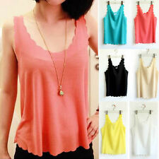 New Casual Womens Sleeveless Pedal Collar Chiffon Tank Tops T-Shirt Blouse Vest