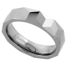 6mm Tungsten Wedding Band Ring Faceted Triangular Prism Pattern, Comfort Fit