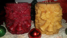 "BEAUTIFUL HOLIDAY PILLAR CANDLE W/BELLS & RIBBON~4X4""CHOICE OF COLOR & FRAGRANCE"