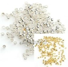 500pcs Silver/Gold Plated Copper Rondelle Crimp End Spacer Beads 2mm-3mm