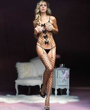 Fence Net Suspender Bodystocking with Satin Bow Accents - Sex y Catsuit Bodysuit