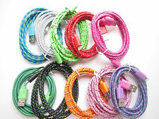 6Ft 2M Braid Fabric Round USB Charge Data Cable for iPhone 5 5S 5C iOS7
