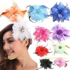 #QZO Headdress Flower Feather Belly Dance Hair Pin Brooch Clip Party Wedding