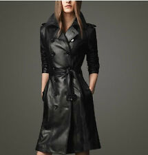 Fashion Women's PU Leather Trench Parka Long Coat Jacket With Belt Black All Sz