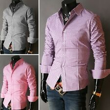 Muscle New Men Slim Fitted Grid line Plaid Check Formal Casual Dress Shirts Tops