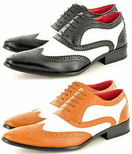 Mens Black  Brown White Funky Pointed Winkle Pickers Brogue Shoes UK Sizes 6-12