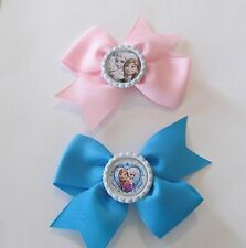 Elsa & Anna Bottle Cap Small Hair Bows attached to alligator clip