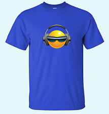 Cool Smiley Face  With Headphones and Shades Music Mens Funny T-Shirts Sm/XX-Lrg