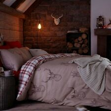 CATHERINE LANSFIELD STAG NATURAL REVERSIBLE TARTAN CHECK BEDDING QUILT BED