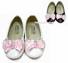 Rhinestone Pink Bow White Black Enamel Plaid Girl School Slip On Shoes 898-1