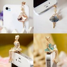 Crystal Two kinds of Gold Ballet girl Earphone Jack / Dust Plug for Cell phone