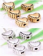 Wholesale 60/130Pcs Tibetan Silver/Gold(Lead-Free)Heart Spacer Beads 6mm