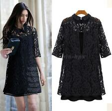 Lapel Crochet Lace Dress Embroidered Party Evening Cocktail Women's Casual EVHG