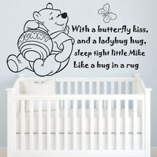 "Winnie The Pooh ""With a butterfly kiss"" Personalize Wall Art Quote Decal Sticker"