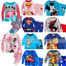 Kids child boy girl Pajamas Sleepwear Sety Cartoon Long Sleeve Cotton 1-7Y