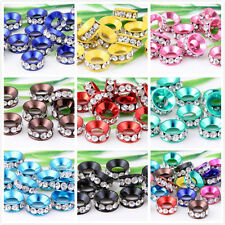 Wholesale 10Pcs 12Color 1Mixed Crystal a big hole spacer beads 11x4mm Hole:6mm