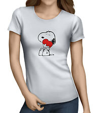 Snoopy Cuddling Love Heart Retro, Funny Lady's T-Shirt 10 Colors Sizes XS/XXL.