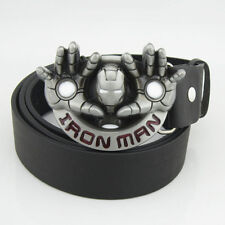 New Iron Man hands Silver Avengers Movie Mens Metal Belt buckle Leather Costume