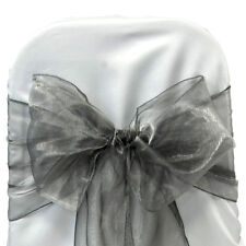 Silver Gray ORGANZA SASH BOW CHAIR COVER BOWS DECORATION FOR WEDDING PARTY